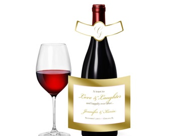 20 Gold Frame Wine Bottle Labels for Wedding Reception, birthday party, Anniversary celebrations hotel hospitality gift or welcome bags,