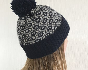 Knitted Bobble Hat, Knitted Hat, Ladies Bobble Hat, Knitted Lambswool Hat, Knitted Pompom Hat, Lambswool Bobble Hat, Ladies Wool Hat