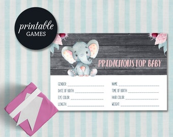Baby Shower Prediction Card Printable, Elephant Baby Shower games Girl, Baby Predictions, Girl Baby Shower Games Predictions for Baby Girl