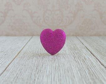Pink Heart - Glitter Heart - Love - Valentine - Wedding - Lapel Pin