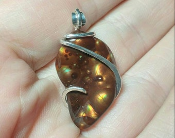 Handmade Rare Stone Pendant | Mexican Fire Agate Pendant | Mexican Fire Agate Necklace | Sterling Silver | Fire Agate Jewelry | Gift for Her