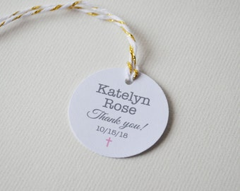 "Mini 1.5"" Round Small Label Tags - Custom Favor & Gift Tags - Baptism Christening Communion tags"