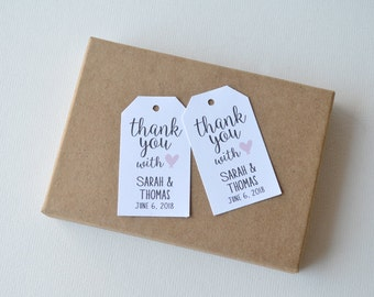 Thank You White Matte Label Tags - Custom Wedding Favor Tags, Hang Tags & Gift Tags - Thank you with love wedding tag