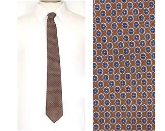 """Brown Silk Tie,JOHN HENRY Tie,Classic Neckwear,61"""" x 3"""",Copper Tie with Blue Medallions,Brown Silk Foulard Print Necktie"""