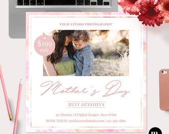 Mother's Day Mini Session Photoshop Template for Photographer - Photography Marketing Material - INSTANT DOWNLOAD - MS047