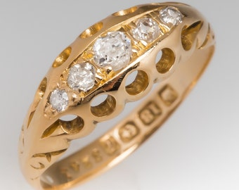 Antique Diamond Ring - Victorian 1905 Birmingham Five Stone Old Diamonds 18K Yellow Gold Anniversary Ring WMS11534