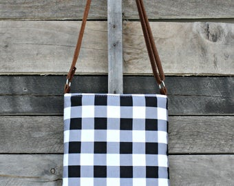 Crossbody Bag, Black and White Buffalo Plaid, Genuine Leather, Everyday Purse, Adjustable Strap