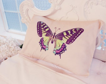 swallowtail pillowcase, cushions, pillow, light pink decorations, pillow covers, home decor bedding, yellow butterfly