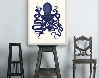Octopus Print Blue 9- Octopus wall art Octopus poster octopus illustration Nautical Print Digital Print blue octopus Wall Art Wall Décor