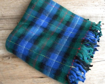 Vintage Plaid Stadium Blanket / New Condition / Sport Throw / Green Blue Throw / USA Made / Camping Blanket / Cabin Throw / Picnic Blanket