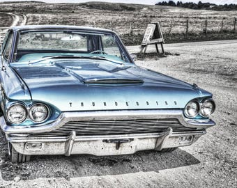 Classic Car Photography: Photo of a Classic Blue Ford Thunderbird Car Print on Canvas or Photo Paper