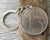 62nd birthday present 1955 Irish coin key chain Ireland Celtic key fob horse coin key ring retirement anniversary gift for man woman