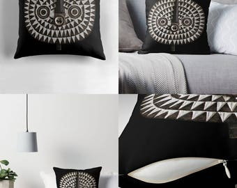 Throw Pillow - Pillow Cover — Portrait of Bobo-Bwa Sun Mask / Ethnographic Art Image Series / Tribal Art–African Art / Spun Polyester