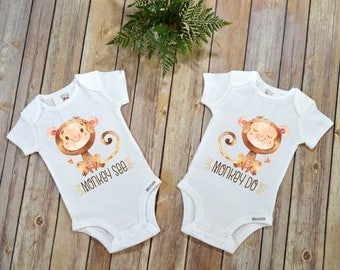 Siblings shirt, Monkey See Monkey Do, Twins Gift, Siblings Gift, Cute Baby Clothes, Sisters Shirts, Baby shower Gifts,Twins Baby Shower Gift