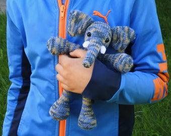 Hand knitted animal elephant baby boy birthday gift elephant doll elephant soft toy handmade knit stuffed animal knitted toy elephant