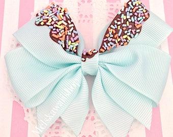 Chocolate Mint Sprinkle Hair Bow
