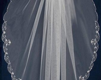 "Silver Beaded Scallop 40"" Long Fingertip Length Wedding Veil"