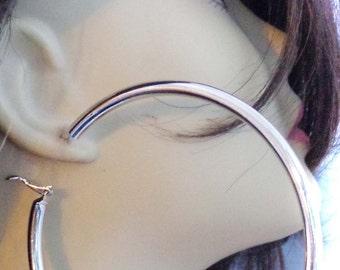 Large Hoop Earrings SILVER Plated Round Hoop Earrings Thick Cast Tube Hoop Hypo-Allergenic Hoops 3.5 inch