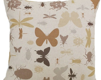 Ants Insects Bugs Cushion Cover Printed Cotton Fabric Taupe B Variation of Sizes