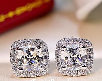2 Ct (Each 1 ct, 6 mm) Cushion Cut Halo Earrings, Sterling Silver Earrings,Man Made Diamond, Bridal Earrings, Wedding Gift, Bridesmaids Gift