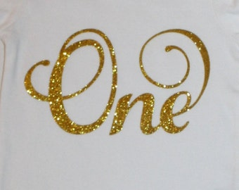 Gold glitter One Iron on decal for baby bodysuit, cake smash outfit girl, girls t shirt, iron on glitter transfer