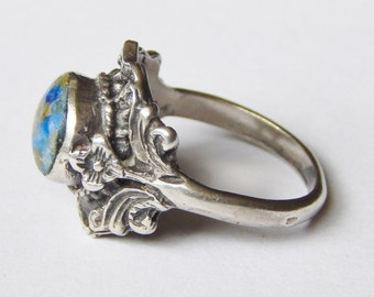 Ornate Vintage Silver Ring With Round Blue Green Stone Sz 5 1/2 - 925 Sterling