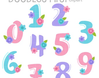 Floral Spring Numbers Clip Art for Scrapbooking Card Making Cupcake Toppers Paper Crafts