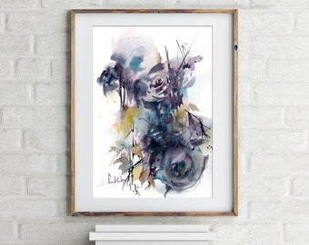 Abstract floral painting, purple painting, ORIGINAL Watercolor Painting, Floral Watercolour Modern Art