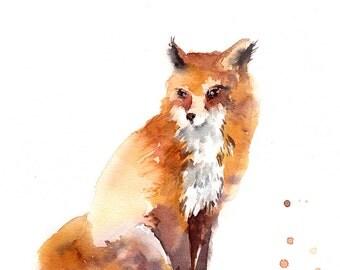 Watercolor painting of fox, Original Painting, Fox Painting, animals painting, fox watercolor illustration