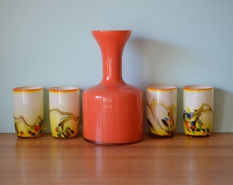 Vintage 4 x Snowflakes art glass drinking glasses orange and carafe
