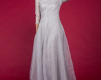 Light Gray Lace Maxi Dress - Long Sleeve Grey Evening Dress with Organza Panel - Organza Lace Prom Dress Formal Dress Wedding Dress C36
