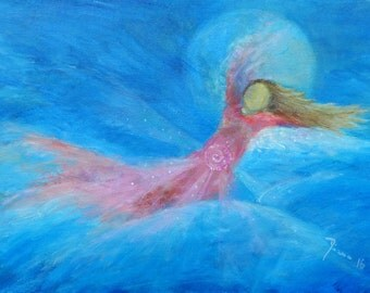 """Original Angel Painting on Canvas """"High into the Sky"""" // Waldorf // Present for Her // Christmas Present // Wedding //"""