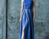 Blue lace floor length evening dress, halter neck bridesmaid dress, open back prom dress with slit, / Only one size EU36/ Ready to ship!