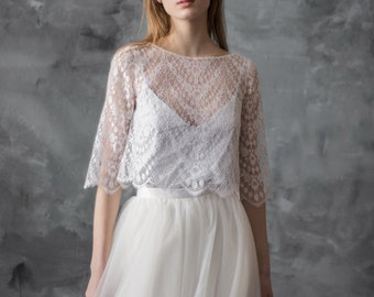 Lace wedding top separate, ivory lace top, white wedding top, elbow sleeves bridal cover up/ Only one size EU36/ Ready to ship!