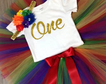 Rainbow First Birthday Outfit, First Birthday Tutu Set, Rainbow Birthday Tutu, Rainbow Birthday Shirt Tutu Set, Girls Birthday Outfit, Tutu