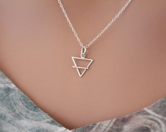 Sterling Silver Earth Element Symbol Charm Necklace, Earth Element Charm Necklace, Earth Element Necklace, Earth Element Symbol Necklace