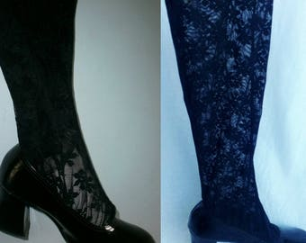 """Rare Vintage 60s 70s """"Swinging London"""" Black Patent Leather Floral Lace Stocking Mod Go Go Knee High Boots UK 4 / USA 6.5 / EU 37"""