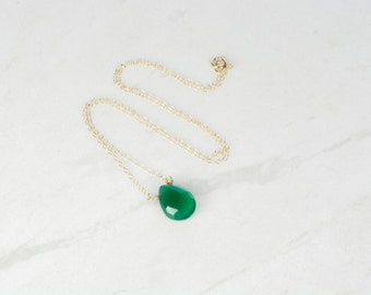 Gemstone necklace, Pendant necklace, emerald green chalcedony necklace, onyx pendant, gold filled necklace