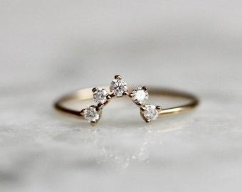 14K Half Circle Diamond Wedding Band, Curved Ring, Diamond Cluster, , Peak Ring, Wedding Band, Gold Ring, Stacking Ring