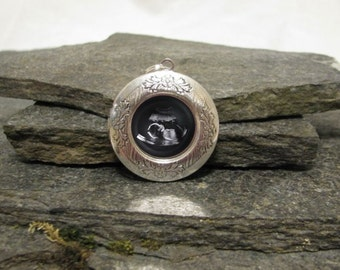 Sonogram Locket Necklace, Custom Photo Locket Necklace