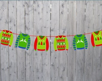 Ugly Sweater Banner, Ugly Sweater Garland, Ugly Sweater Party, Ugly Sweater Decorations, Tacky Sweater Banner
