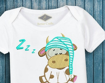 50% OFF Good Night Cow - Machine Embroidery Applique Design 4 Sizes