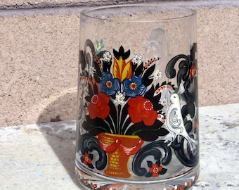 Vintage Crystal Stein, Painted Glass Tankard, Folk Art Painted Beer Stein, Heavy Crystal Beer Glass
