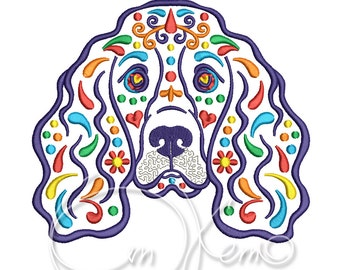 MACHINE EMBROIDERY DESIGN - Calavera Cocker spaniel embroidery, Dia de los muertos, Mexican design, calavera dog, Day of the dead