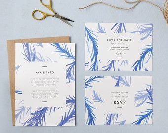 Blue botanical wedding invites