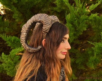 Large Ibex Horns! Satyr Faun Fawn Sheep Curly Antlers Pan Ram Goat Swirl Spiral Woodland Farm Animal Costume Cosplay Custom Colour Customize