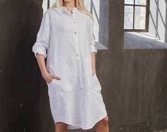 Linen shirt dress, Tunic dress, Linen summer dress, Linen tunic dress, Linen tunic/shirt dress, Flax tunic dress, Flax shirt dress,