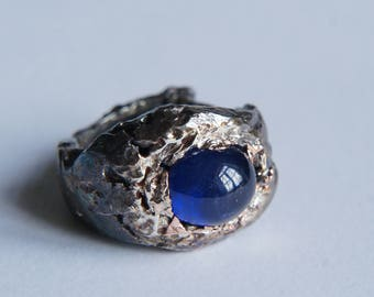 Meteorite ring, rough ring, unique ring, sapphire ring, statement ring, sterling silver ring, textured ring, contemporary ring, ancient ring