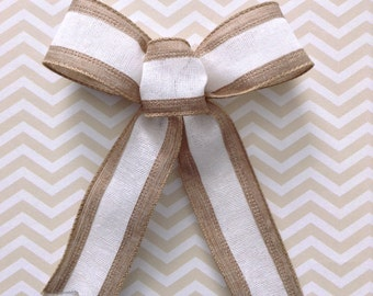 Burlap and White Bows / Wedding Decorative Bows / Christmas Tree Bows / Set of 12 / White and Natural Decor Bows / Wedding Small Decor Bows