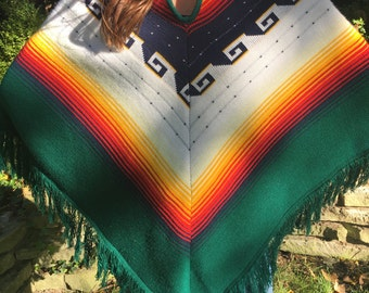 1970's Green Aztec Inspired Fringe Cape with Collar Size: OS